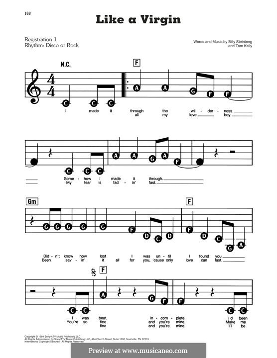 Like a Virgin (Madonna): For piano by Billy Steinberg, Tom Kelly