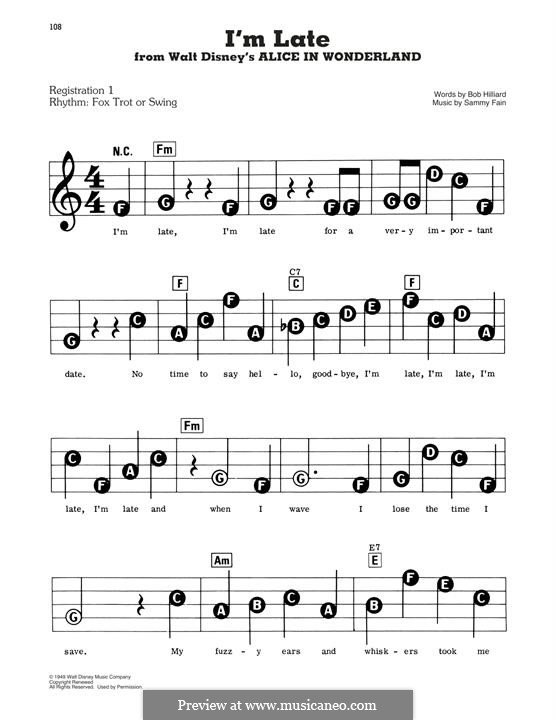 I'm Late: For piano by Sammy Fain