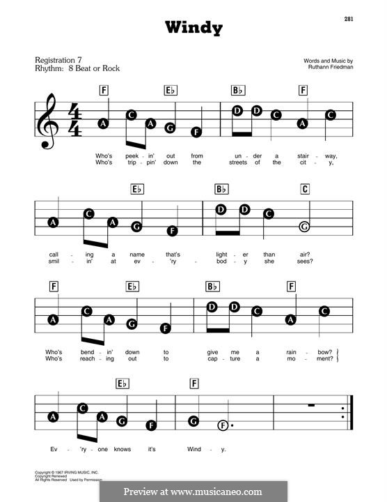 Windy (The Association): For easy piano by Ruthann Friedman