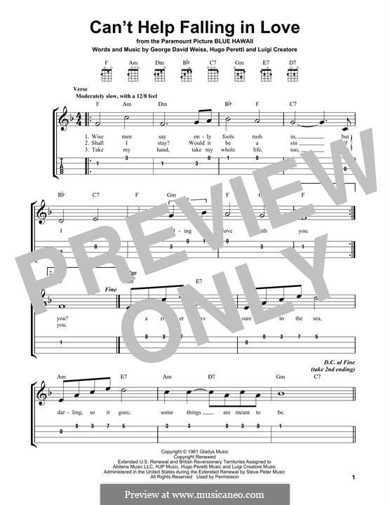 Can't Help Falling in Love: For ukulele (Elvis Presley) by George David Weiss, Hugo Peretti, Luigi Creatore