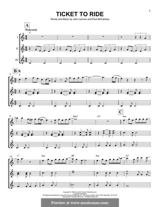 Ticket to Ride (The Beatles): For ukulele by John Lennon, Paul McCartney