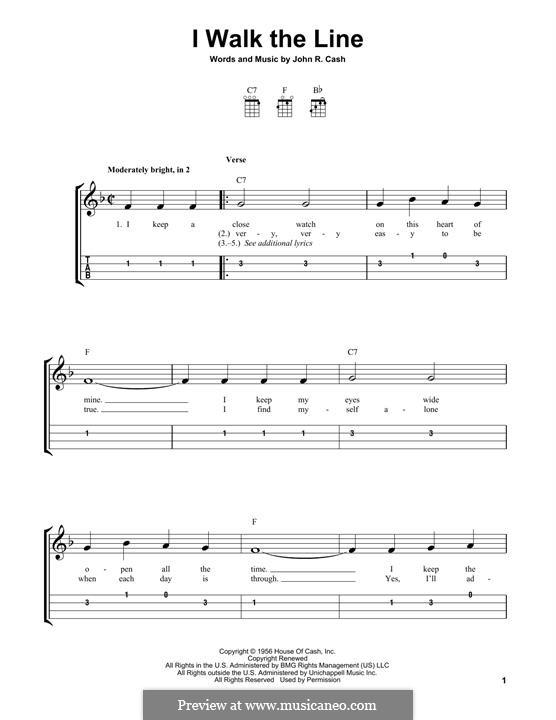 I Walk the Line: For ukulele by Johnny Cash