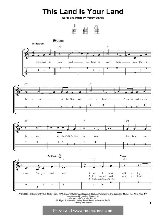 This Land Is Your Land (The New Christy Minstrels): For ukulele by Woody Guthrie