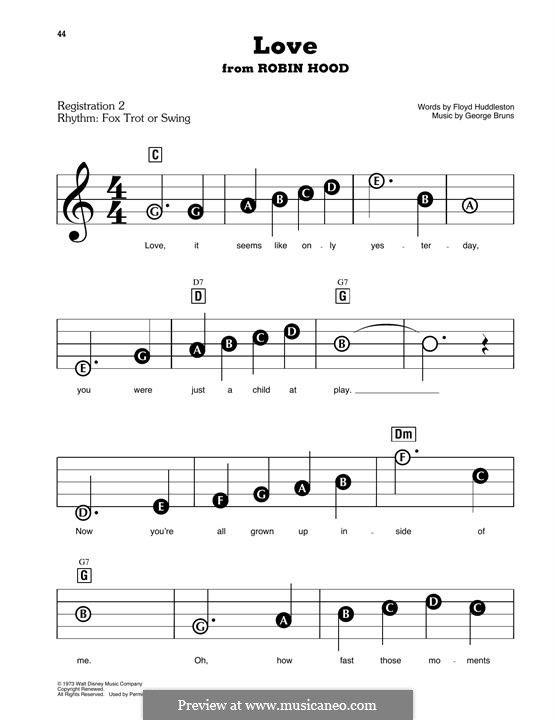 Love (from Walt Disney's Robin Hood): For easy piano by George Bruns