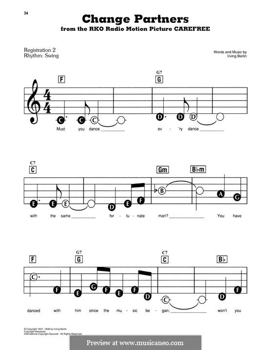 Change Partners: For piano by Irving Berlin