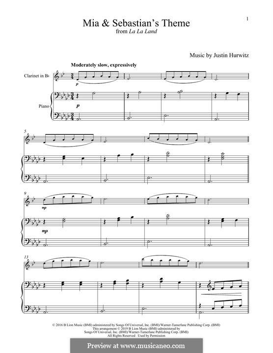 Mia and Sebastian's Theme (from La La Land): For clarinet and piano by Justin Hurwitz
