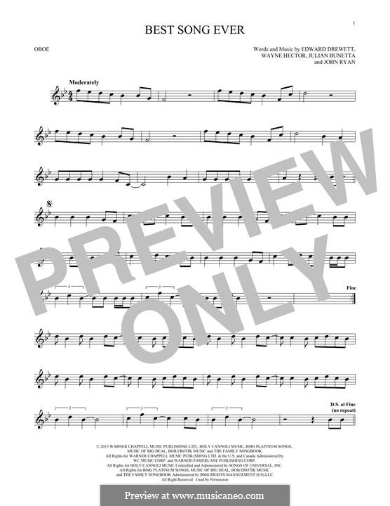 Best Song Ever (One Direction): For oboe by Ed Drewett, Julian Bunetta, Wayne Anthony Hector, John Henry Ryan