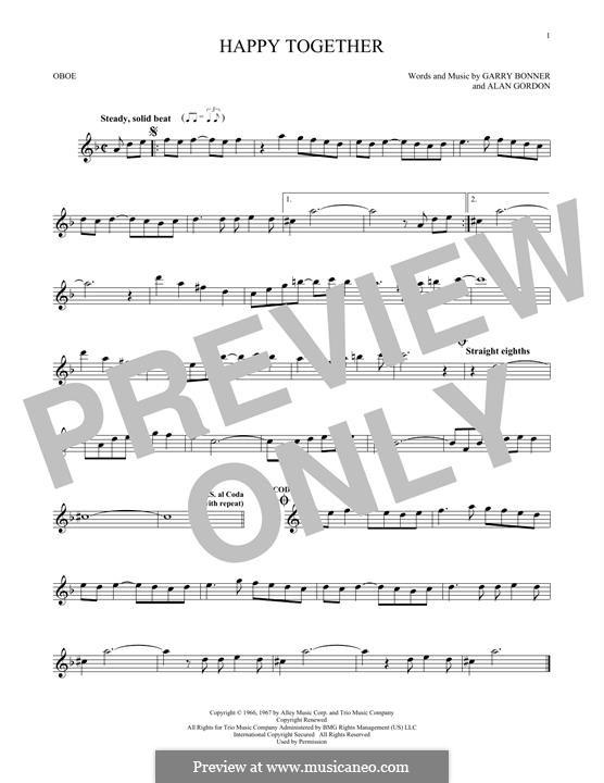 Happy Together (The Turtles): For oboe by Alan Gordon, Garry Bonner