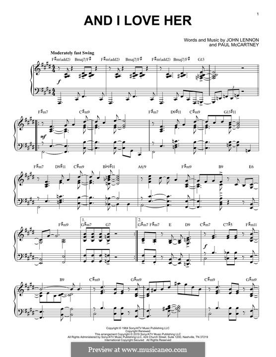 And I Love Her (The Beatles): For piano (jazz version) by John Lennon, Paul McCartney