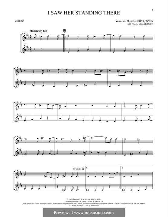 I Saw Her Standing There (The Beatles): For two violins by John Lennon, Paul McCartney