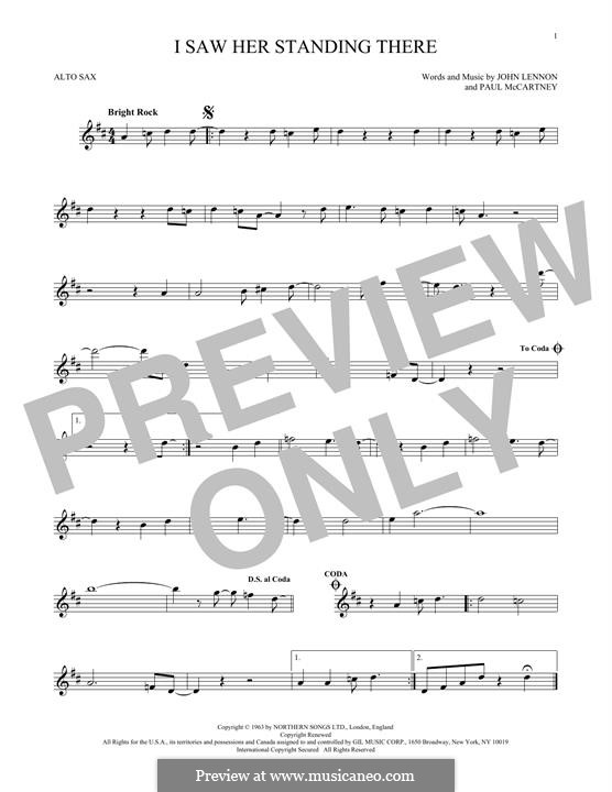 I Saw Her Standing There (The Beatles): For alto saxophone by John Lennon, Paul McCartney