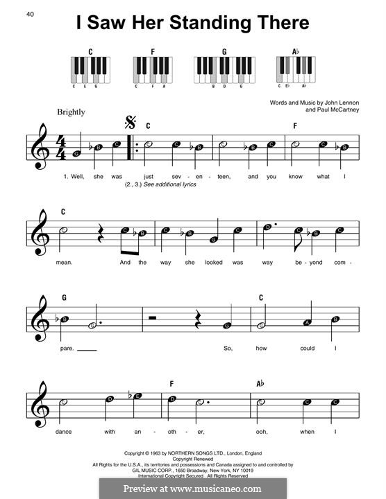 I Saw Her Standing There (The Beatles): For easy piano by John Lennon, Paul McCartney