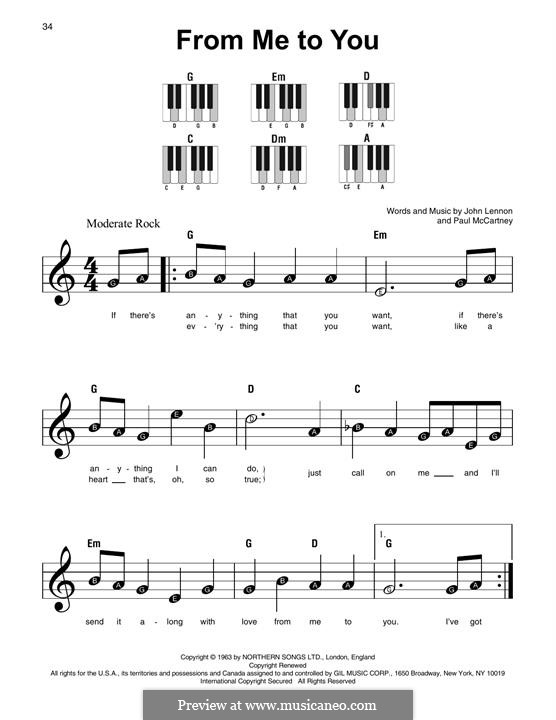 From Me to You (The Beatles): For easy piano by John Lennon, Paul McCartney