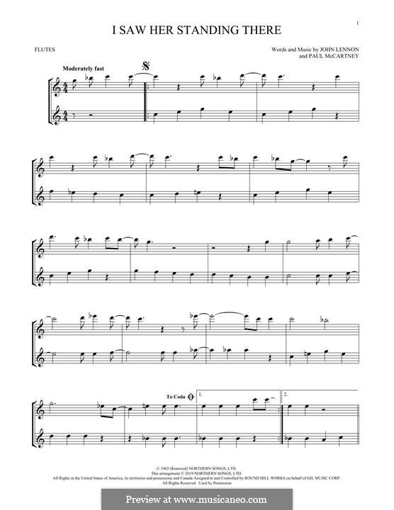I Saw Her Standing There (The Beatles): For two flutes by John Lennon, Paul McCartney