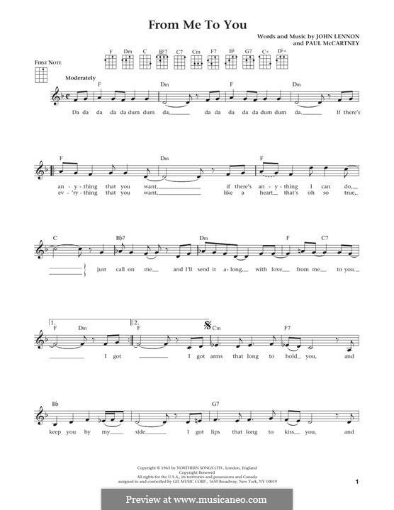 From Me to You (The Beatles): For ukulele by John Lennon, Paul McCartney