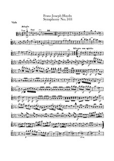 Symphony No.103 in E Flat Major 'Drum Roll', Hob.I/103: Viola part by Joseph Haydn