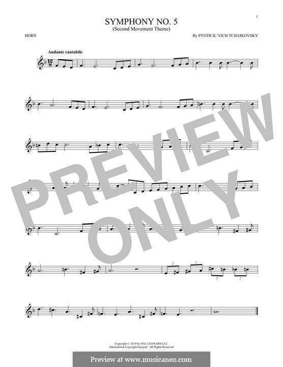 Movement II: Arrangement for horn (theme) by Pyotr Tchaikovsky
