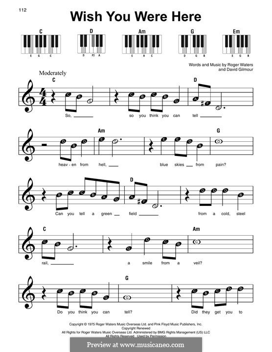 Wish You Were Here (Pink Floyd): For piano by David Gilmour, Roger Waters