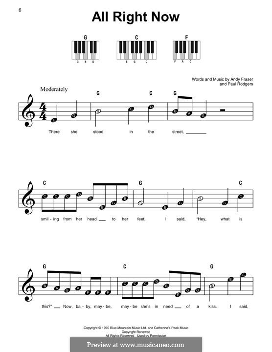 All Right Now (Free): For easy piano by Andy Fraser, Paul Rodgers