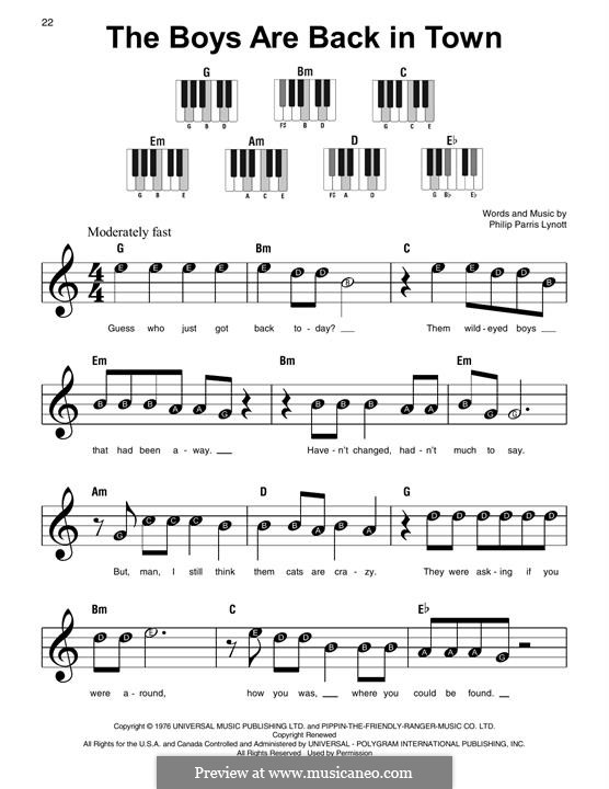 The Boys Are Back in Town (Thin Lizzy): For easy piano by Phil Lynott
