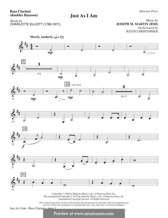 Just As I Am: Bass Clarinet (sub. Bassoon) part by Joseph M. Martin