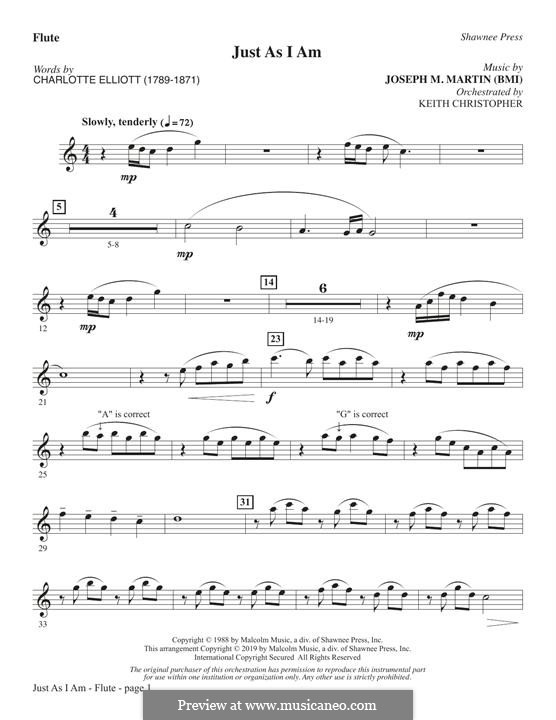 Just As I Am: Flute part by Joseph M. Martin