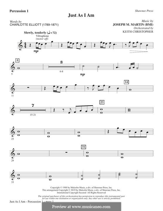 Just As I Am: Percussion 1 part by Joseph M. Martin