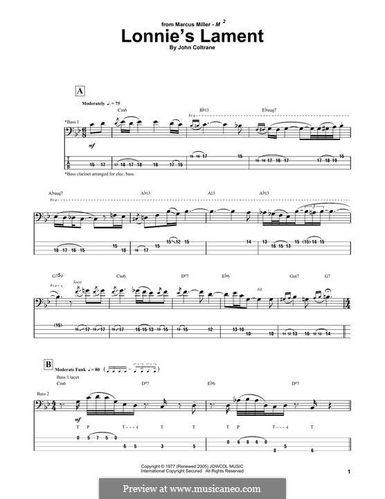 Lonnie's Lament: Melody line by John Coltrane