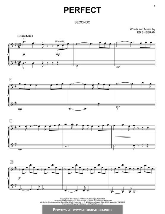 Perfect: For piano four hands by Ed Sheeran