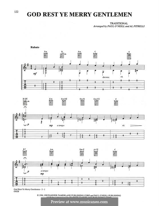 God Rest You Merry, Gentlemen (Printable Scores): For guitar by folklore