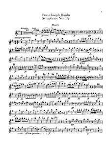 Symphony No.92 in G Major 'Oxford', Hob.I/92: Oboes I-II parts by Joseph Haydn