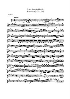 Symphony No.92 in G Major 'Oxford', Hob.I/92: Violin I part by Joseph Haydn