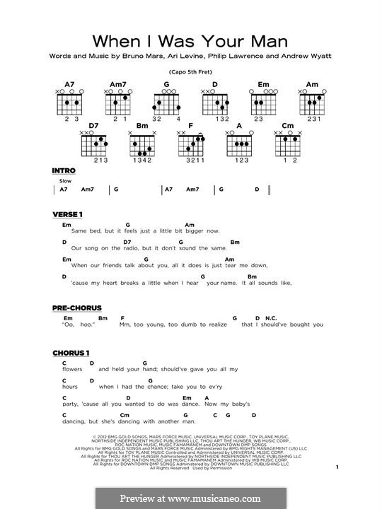 When I Was Your Man: For guitar by Andrew Wyatt, Ari Levine, Bruno Mars, Philip Lawrence