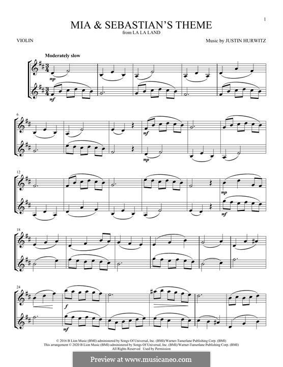 Mia and Sebastian's Theme (from La La Land): For violin by Justin Hurwitz