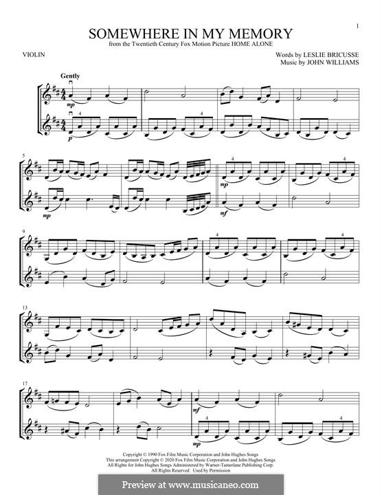 Somewhere in My Memory: For violin by John Williams