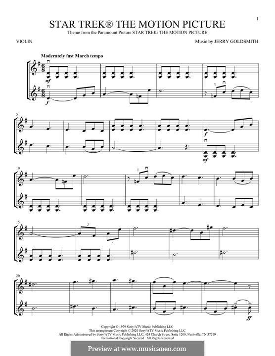 Theme from Star Trek: The Motion Picture: For violin by Jerry Goldsmith