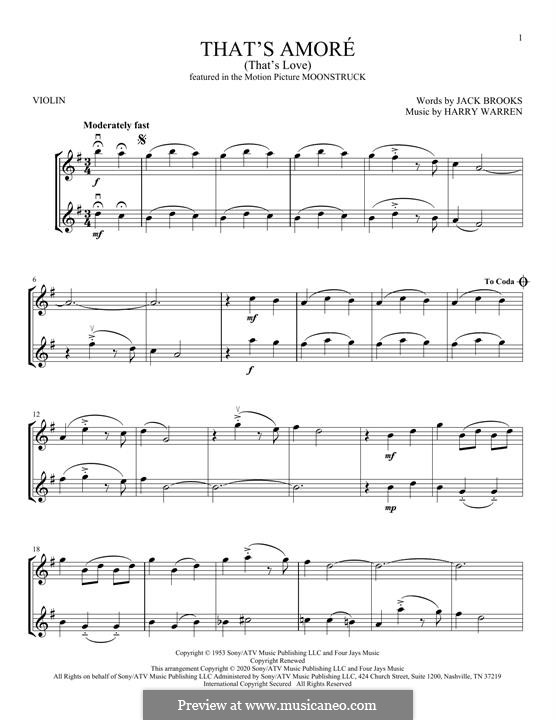 That's Amore (That's Love): For violin by Harry Warren