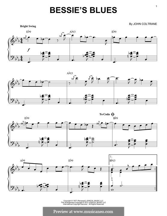 Bessie's Blues: For piano by John Coltrane