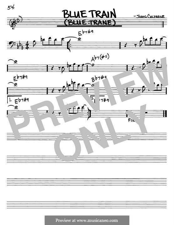 Blue Train (Blue Trane): Melody line by John Coltrane