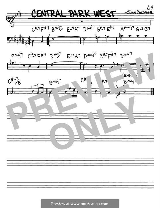 Central Park West: Melody line by John Coltrane