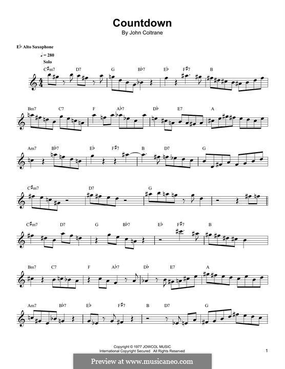 Countdown: For alto saxophone by John Coltrane