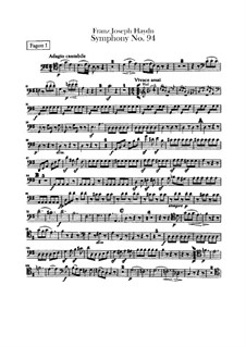 Symphony No.94 in G Major 'The Surprise', Hob.I/94: Bassoons parts by Joseph Haydn