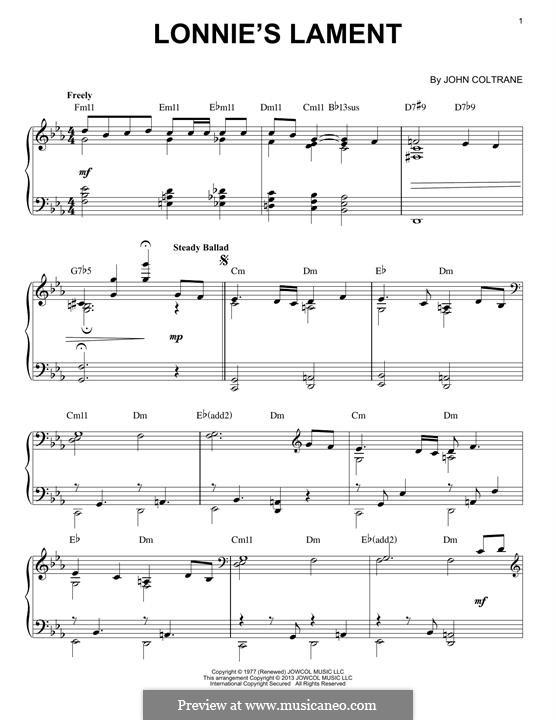 Lonnie's Lament: For piano by John Coltrane