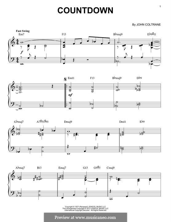 Countdown: For piano by John Coltrane