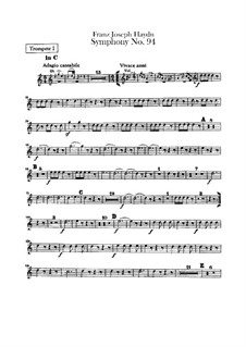 Symphony No.94 in G Major 'The Surprise', Hob.I/94: Trumpets parts by Joseph Haydn