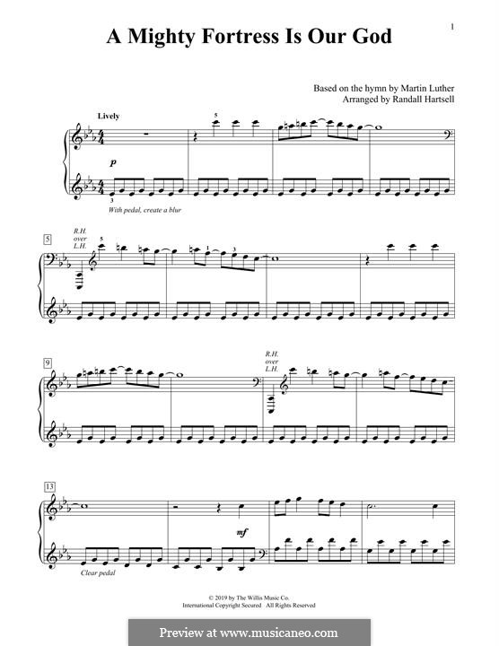 A Mighty Fortress Is Our God: For piano by Martin Luther