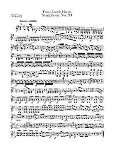 Symphony No.94 in G Major 'The Surprise', Hob.I/94: Violin II part by Joseph Haydn