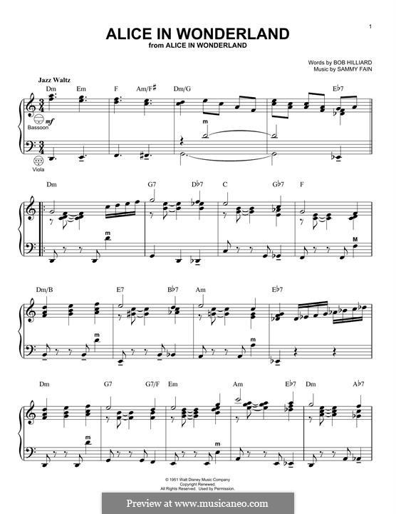 Alice in Wonderland (Bill Evans): For accordion by Bob Hilliard, Sammy Fain