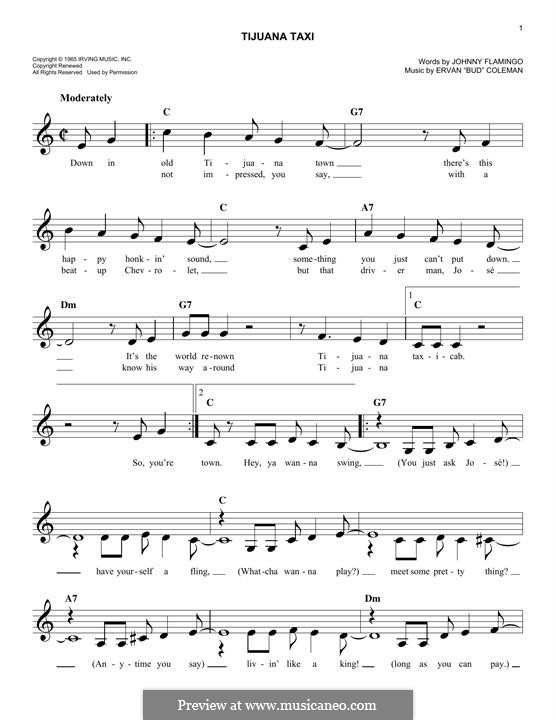 Tijuana Taxi (Herb Alpert & The Tijuana Brass Band): For keyboard by Ervan Coleman, Johnny Flamingo