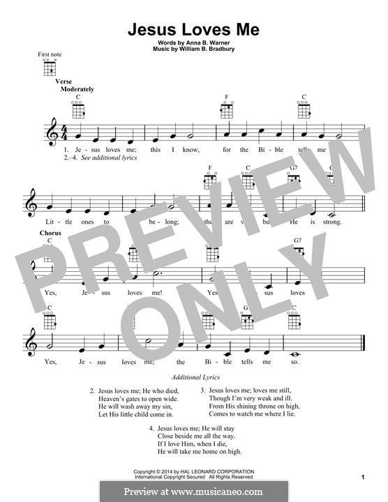 Jesus Loves Me: For ukulele by William Batchelder Bradbury